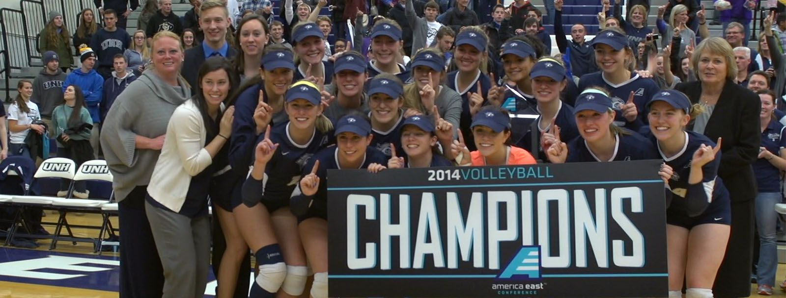 UNH women's volleyball team 2014 America East champions