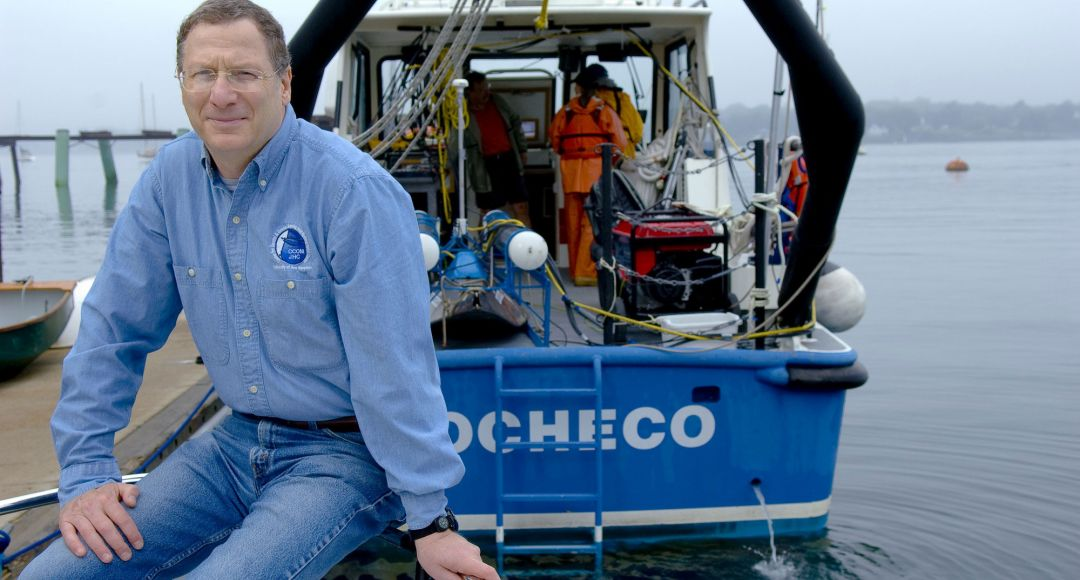 Marine school director on boat in arctic