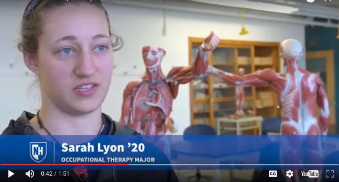UNH student Sarah Lyon with synthetic cadaver