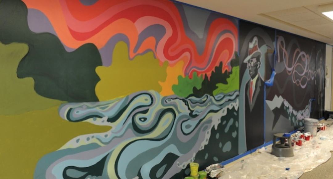 A mural in the UNH library