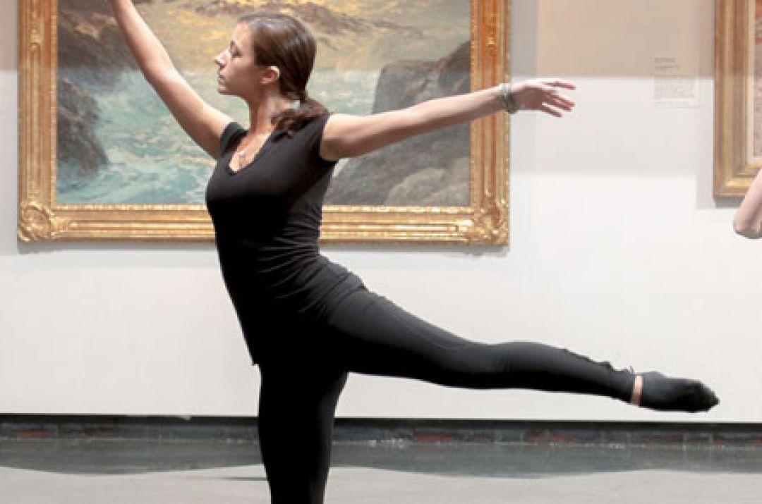 Ballet dancer practicing in museum
