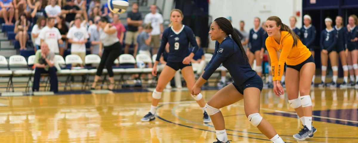UNH volleyball players
