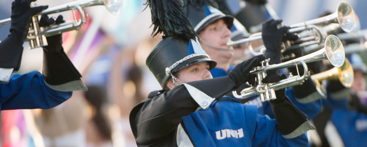 Marching band playing during football game