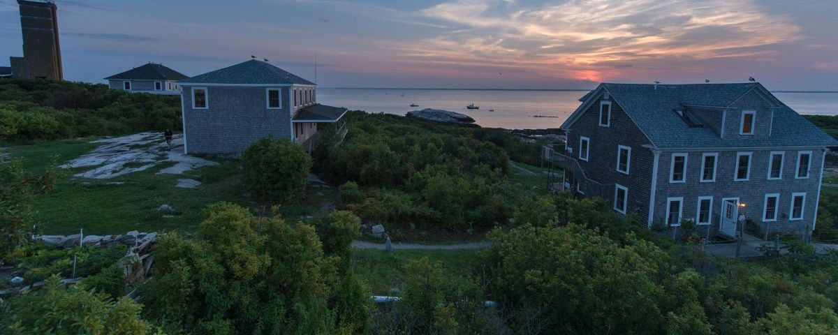 A senic view of  buildings on Appledore Island
