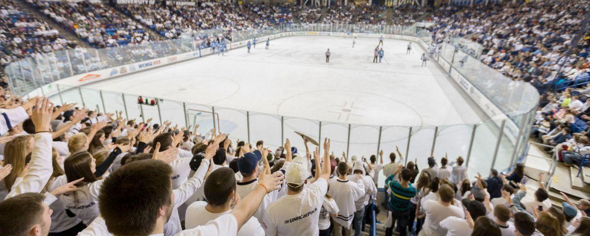 Students cheering at hockey game
