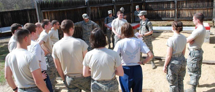 Cadets doing Group Leadership Projects at Spring 2011 Day Away at Fort Devons