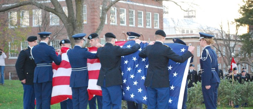Veterans Day 2012 Retreat (taking down the flag) in front of Thompson Hall