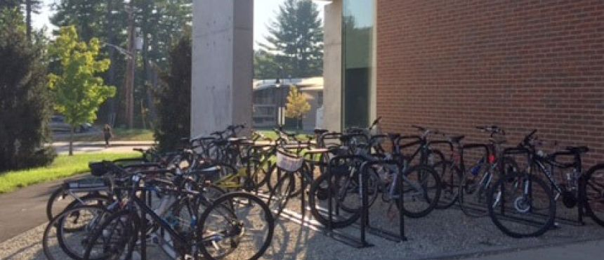 Facilities installed more than 20 new campus - standard bike  sleds, as well as new bike parking pods at Murkland Courtyard  and Kingsbury Hall.
