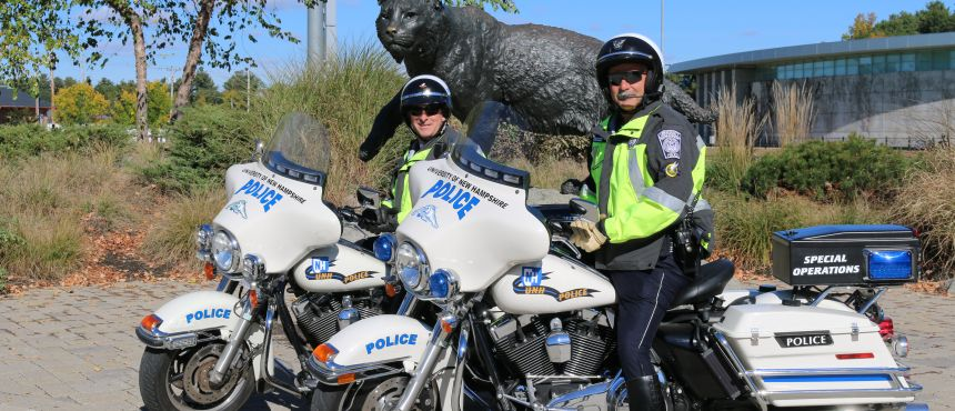 UNH Motorcyle Officers with Wildcat