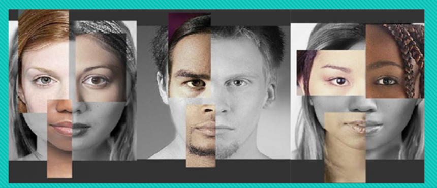2 females, 1 male photo with grid design on face, hair, skin tone