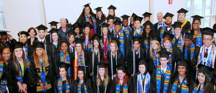 A photograph of the many graduates who attended the 2014 Commencement Reception