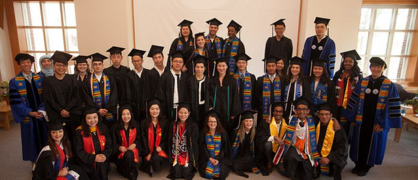 A photograph of the many graduates who attended the 2016 Commencement Reception.