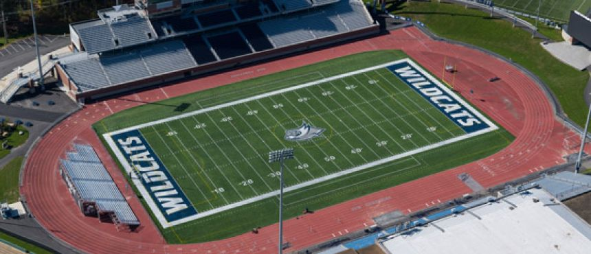 Aerial view of the new football field