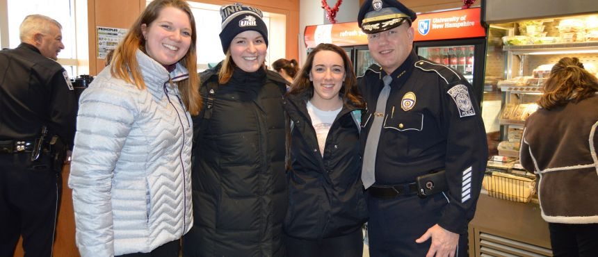 Chief Dean with Students at Coffee with a Cop Event
