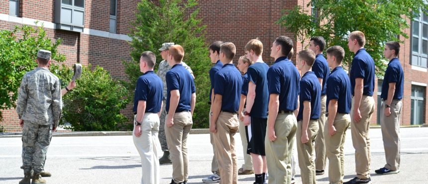 Cadets learning stationary drill at NSOP