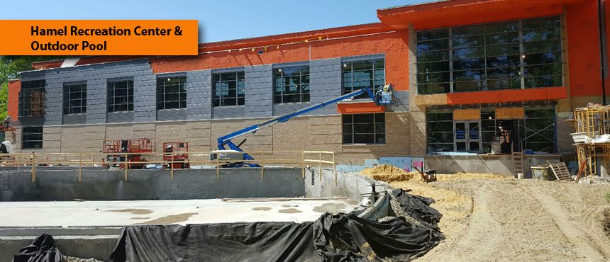 Photo of Hamel Rec Center and the Outdoor Pool construction
