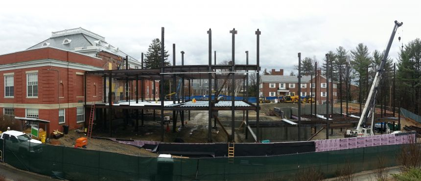 A photograph of the steel framing for the Ham Smith addition