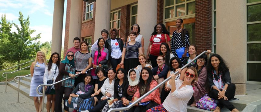 International women group on library front steps