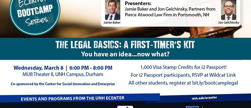 Join us: Bootcamp: Legal. The Legal Basics: A First-timer's Kit, March 8 at 6:00 p.m.