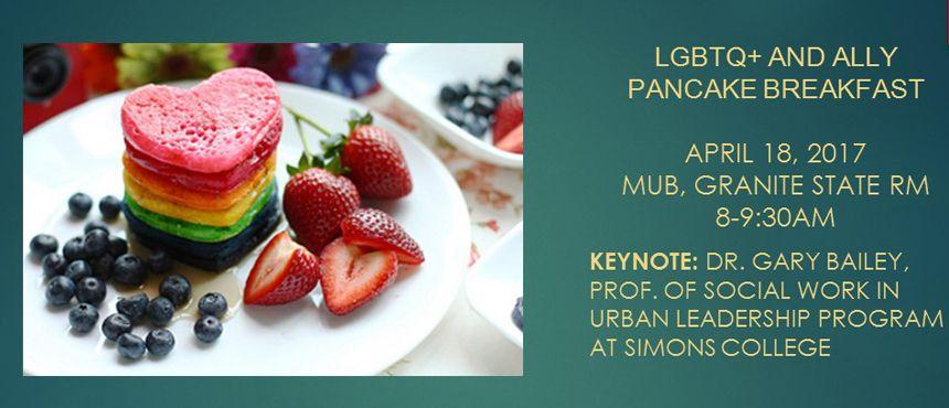 LGBTQ Pancake Breakfast April 18, 8-9:30am, MUB