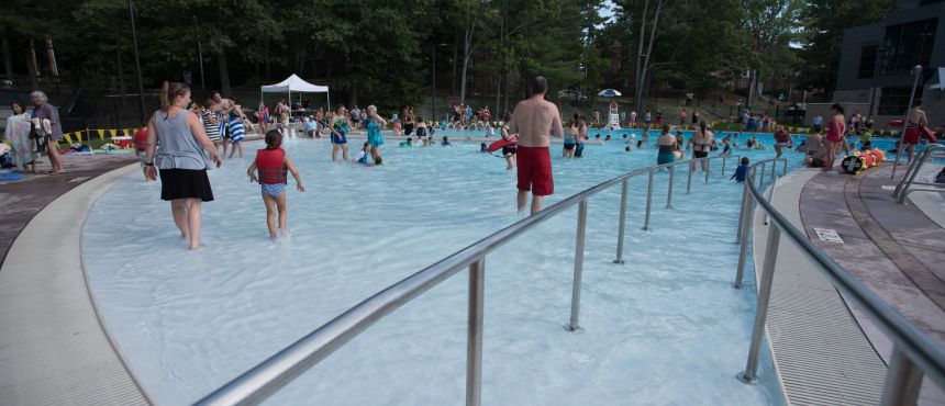 A photograph of the UNH Outdoor Pool access ramp