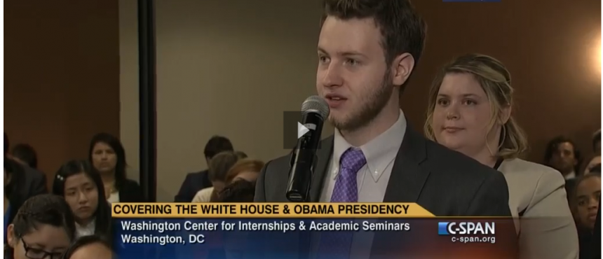 Screenshot of UNH student posing question on CSPAN