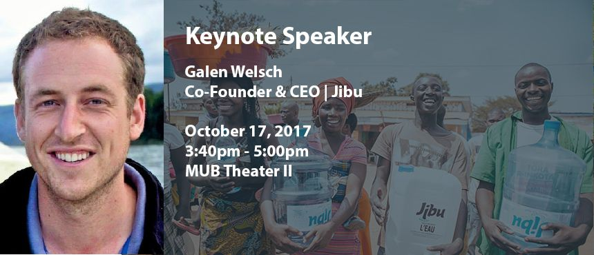 """Jibu—Swahili for """"Solution!"""" Come hear Galen Welsch share his experiences helping local owners drive lasting solutions to under-employment and affordable access to drinking water. http://www.unh.edu/social-innovation/event/jibu-oct-2017"""