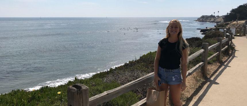 Student by California coast