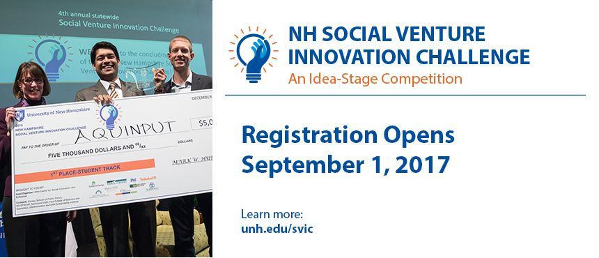 What's your wild idea to help solve a social and/or environmental challenge? Register today to compete and develop your idea. Cash and other prizes! unh.edu/svic