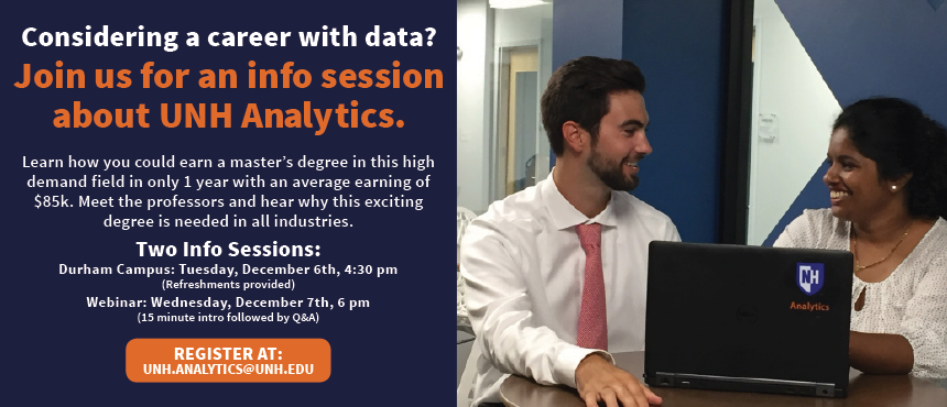 Analytics Information Session, December 6 in person and 7 online