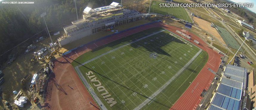 Bird's-eye view of the new Stadium, under construction in Durham.