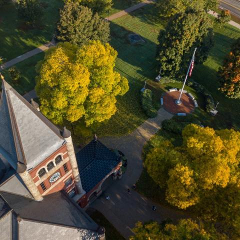 aerial view of thall in the fall