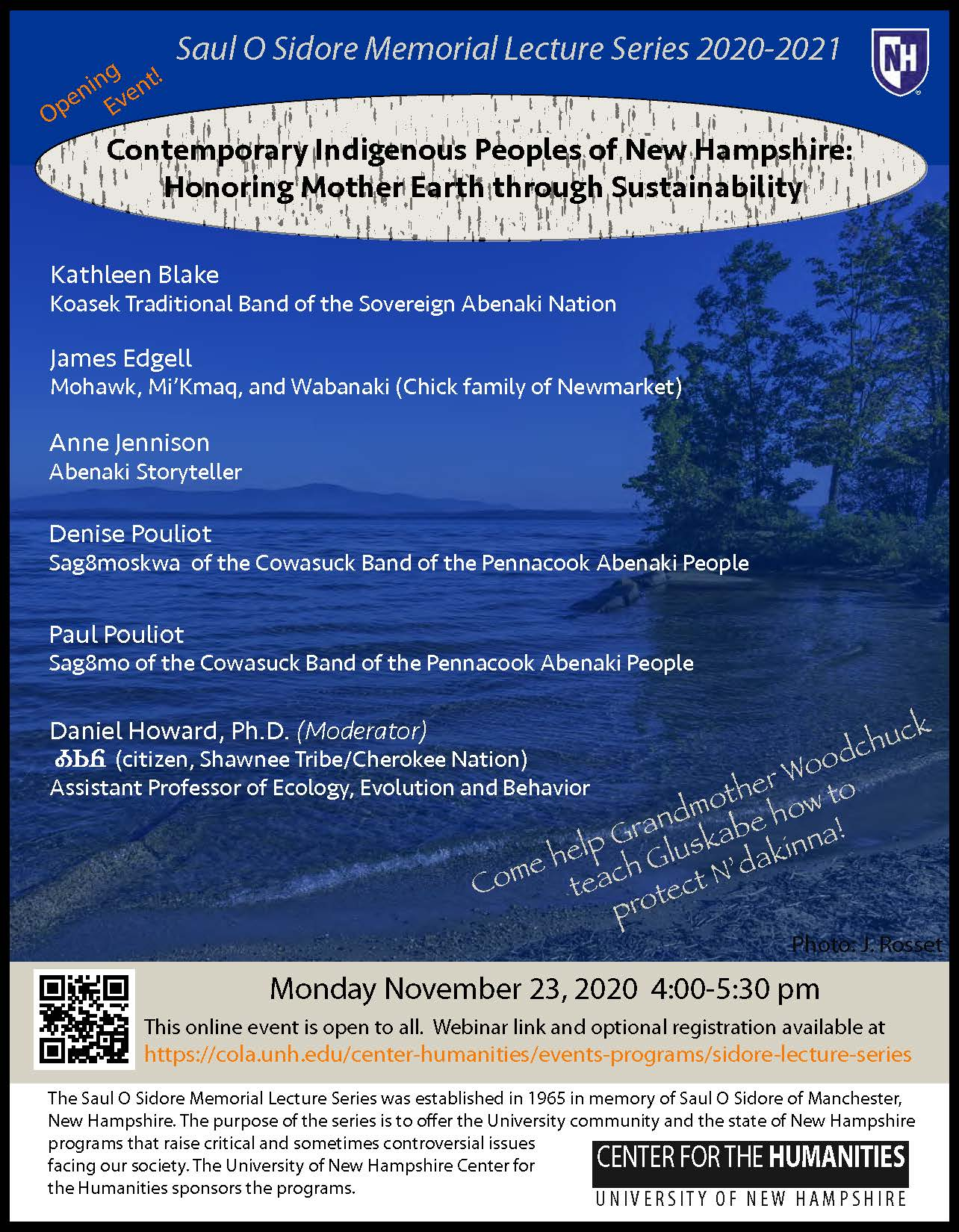 Sidore Lecture: Contemporary Indigenous Peoples of NH--Honoring Mother Earth...