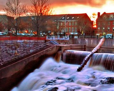 downtown Dover, NH at sunset