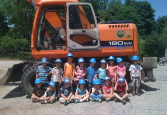 students posing with construction equipment