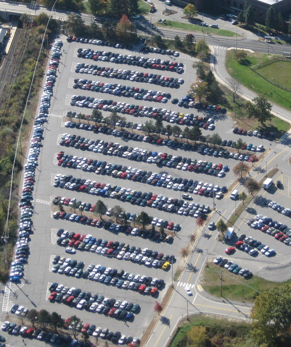 arial view of parking lot