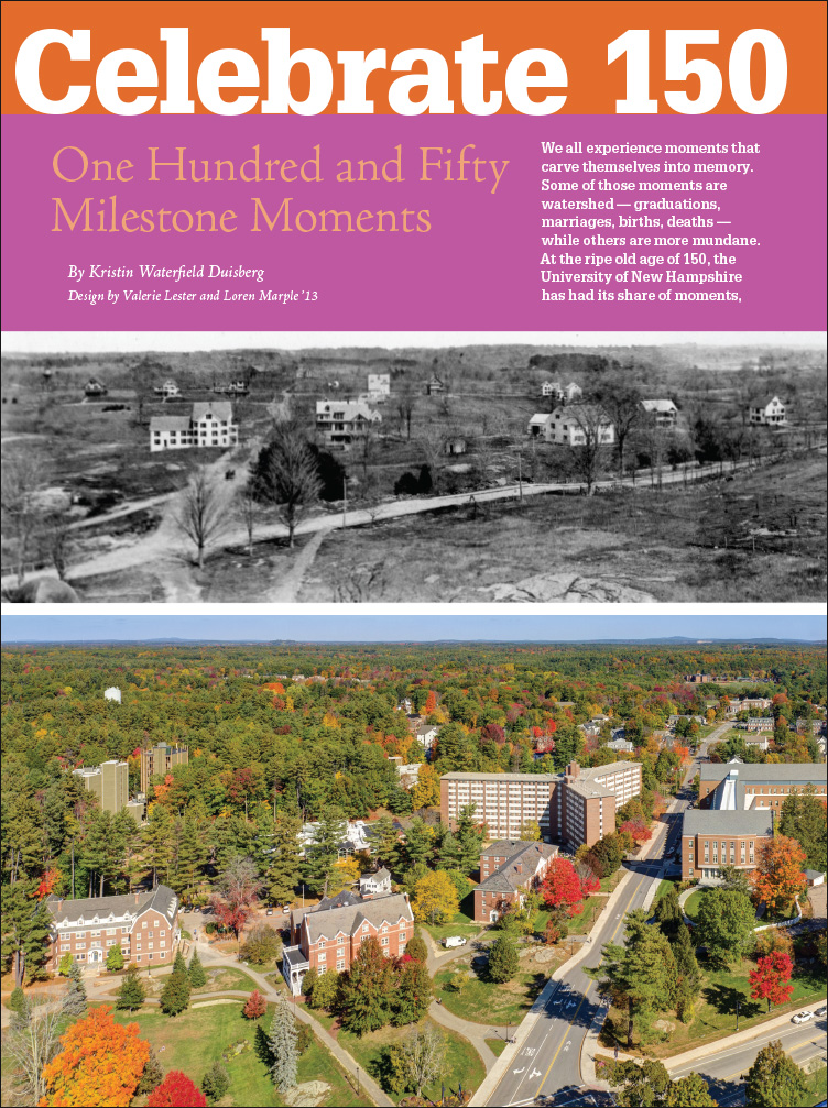 UNH Magazine One Hundred and Fifty Milestone Moments Feature page 1