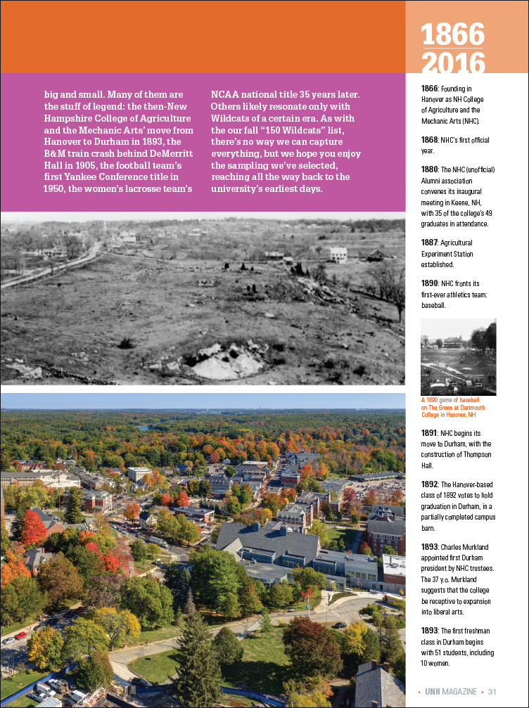 UNH Magazine One Hundred and Fifty Milestone Moments Feature page 2