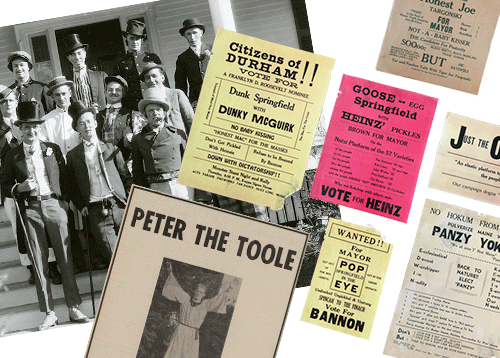 a collage of items from different UNH Mayoralty campaigns including a photo of candidates and managers from 1930, some flyers and an ad for Peter the Toole