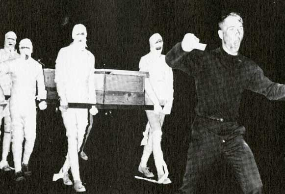 William Shaheen '65 as Count Dracula in his 1964 campaign for mayor of Durham, with mummies carrying a coffin