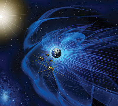illustration of satellites flying through magnetic fields