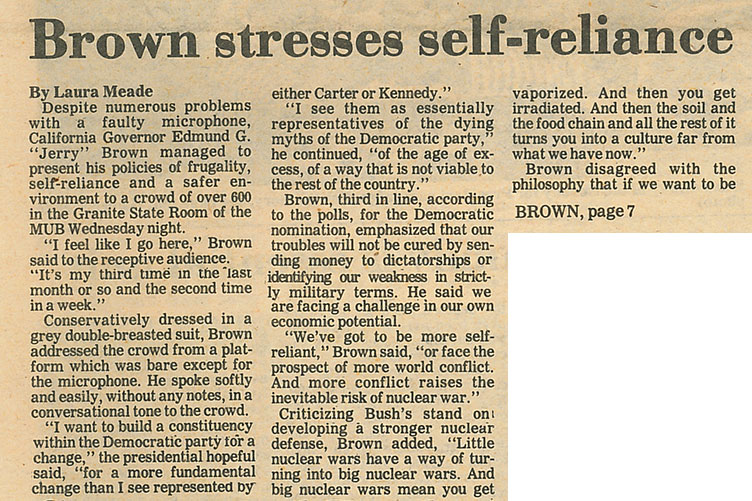 Brown stresses self-reliance article