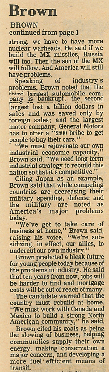 Brown stresses self-reliance
