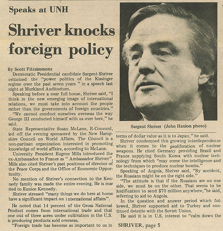 Shriver knocks foreign policy - article