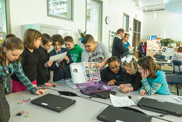 students working with LittleBits at East Rochester School