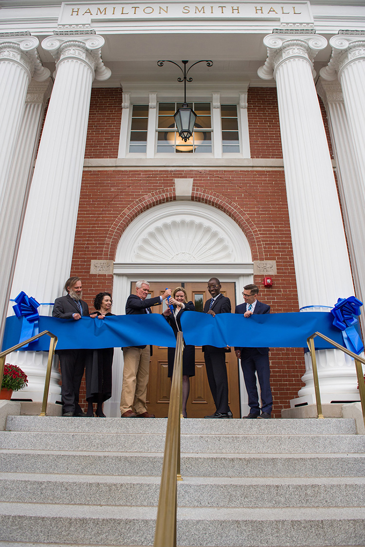 ribbon cutting in front of Ham Smith