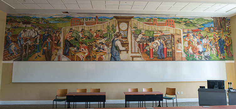 "the restored mural ""Industry"" in Hamilton Smith Hall at UNH"