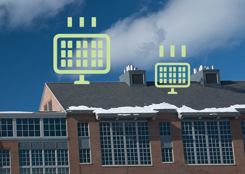 illustration of solar panels on Holloway Commons' roof at UNH