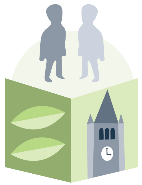 illustration of a book with leaves and UNH's Thompson hall on the cover and two figures standing on top of it