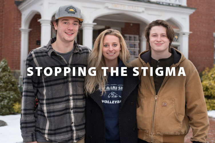 Kirstin Pesaresi (center), president of Stop the Stigma (STS), joins her fellow STS student leaders Jordan Leikin (right) and Tyler Thompson outside Smith Hall, home of the UNH Counseling Center.
